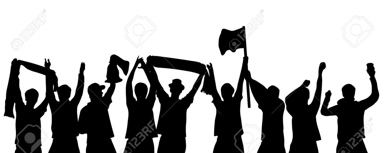 Black Silhouette of cheering soccer, football, sport or music fans - 154728419