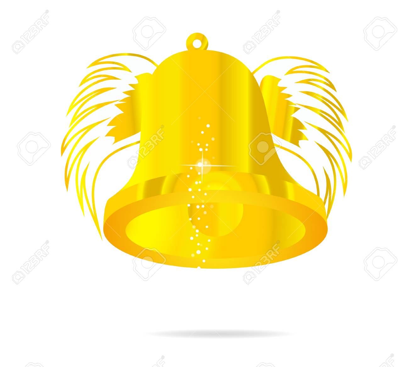 fly gold bell on the white isolated Stock Vector - 9720053