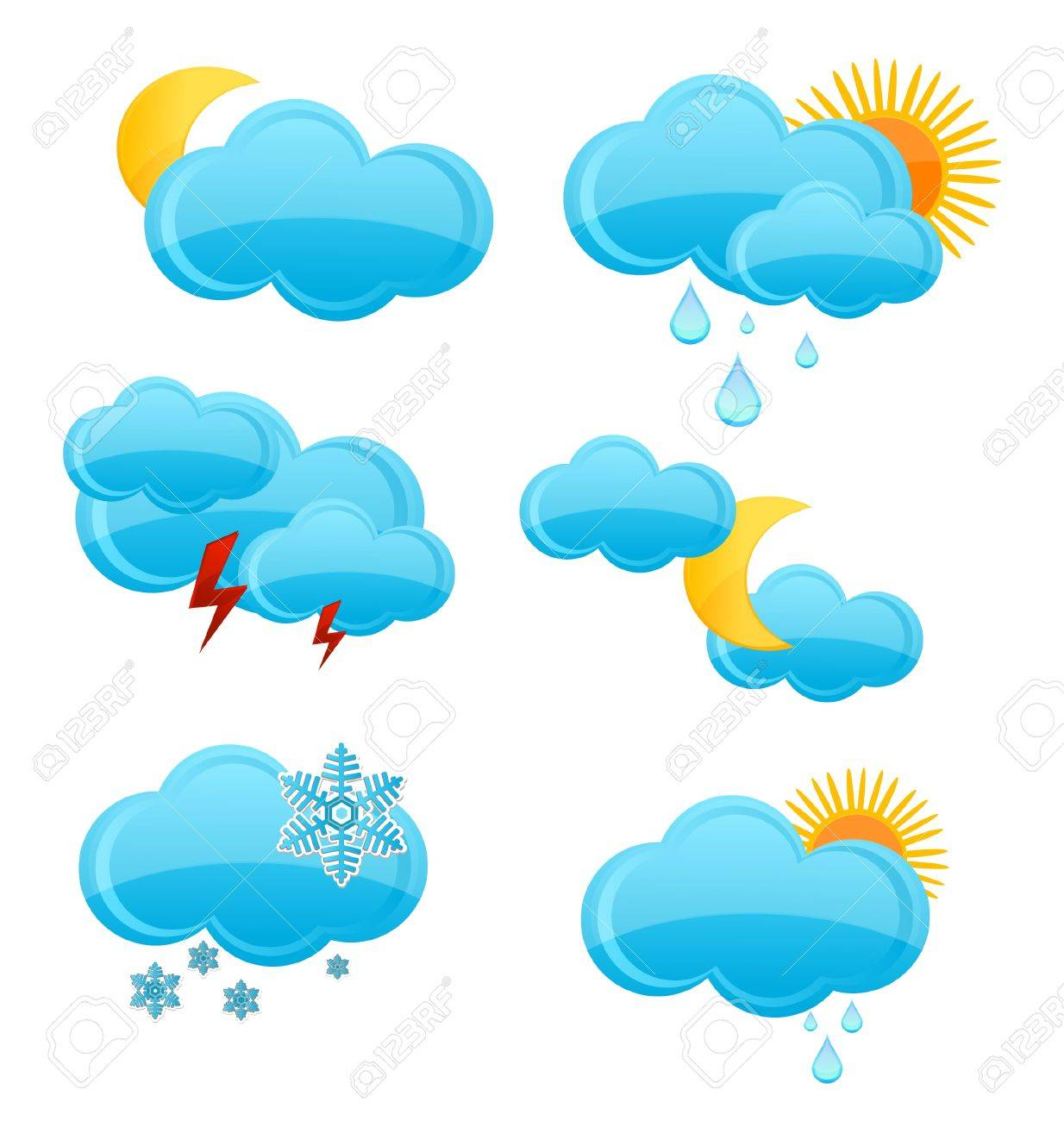 web and glass weather symbols set isolated Stock Vector - 10010368