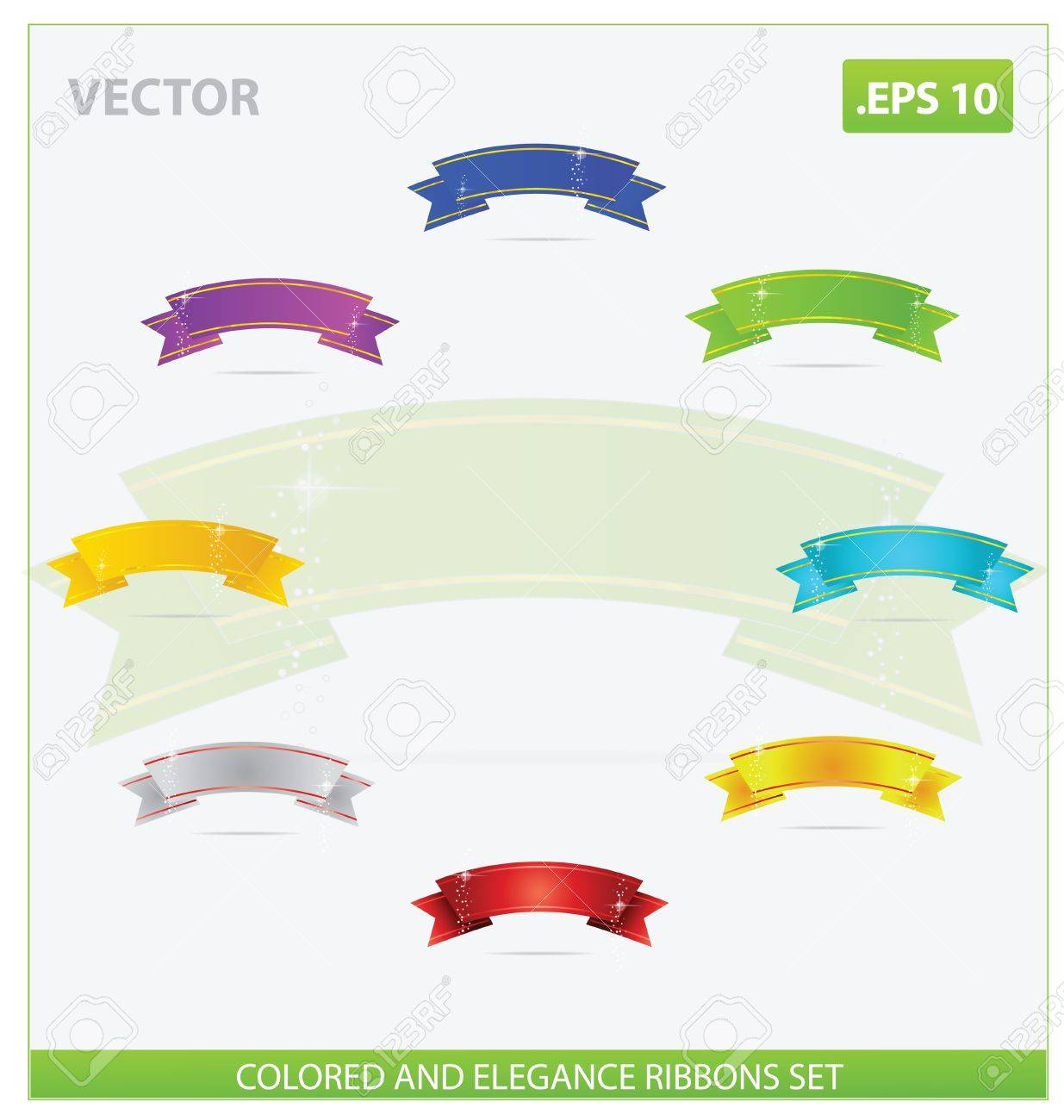 elegance and magic colored ribbons set isolated Stock Vector - 14258651