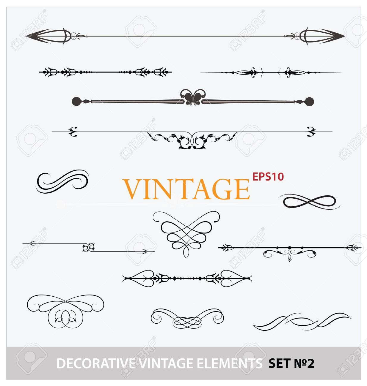 Vintage Elements Sign And Borders Set Royalty Free Cliparts ...