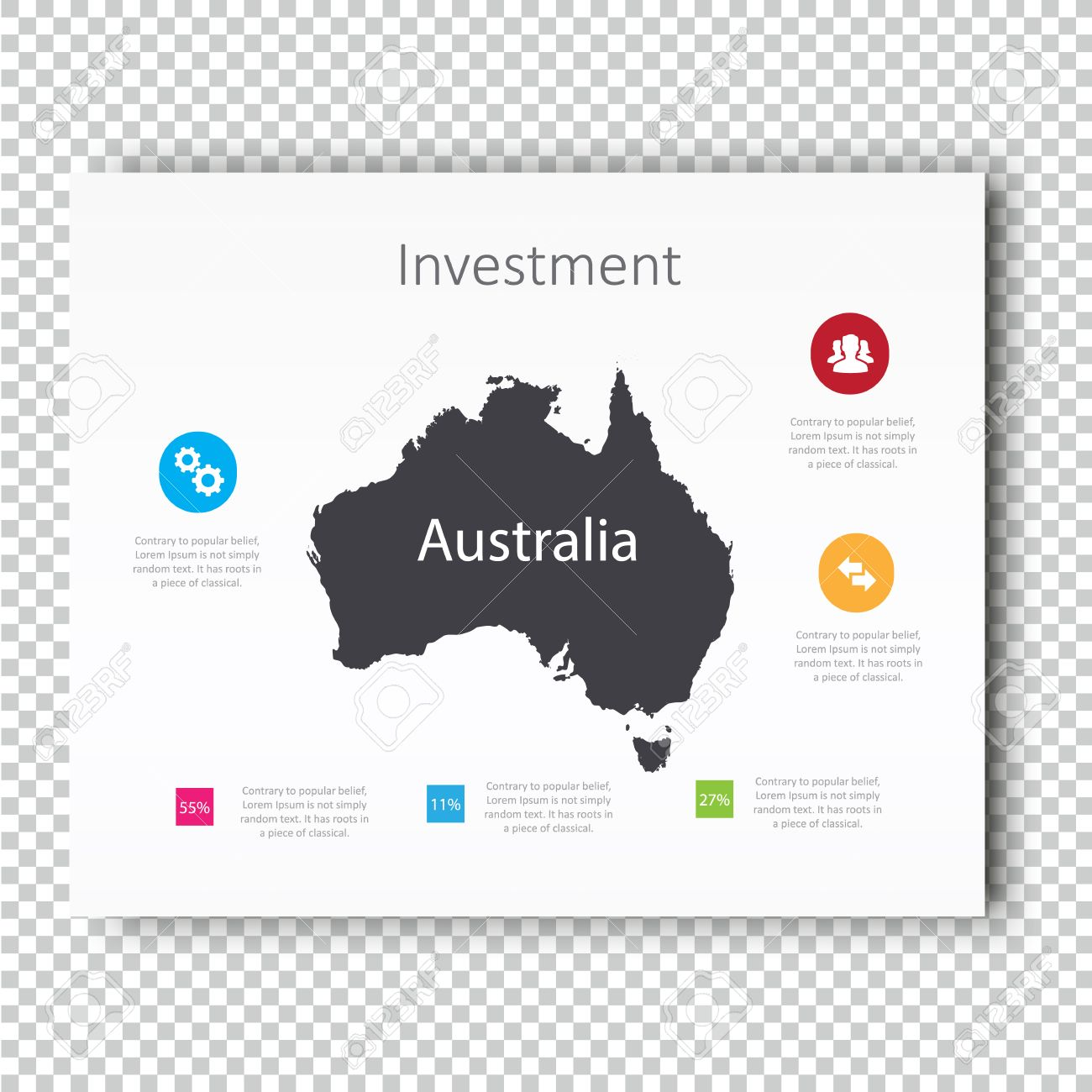 infographic investment slide of australia map presentation template business layout design modern style