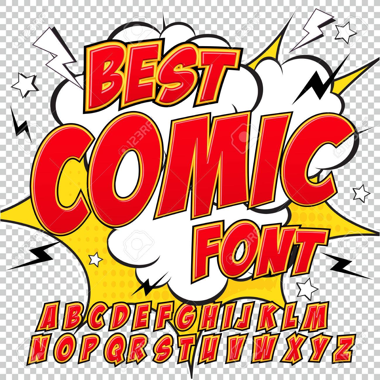 Creative high detail comic font  Alphabet in the red style of