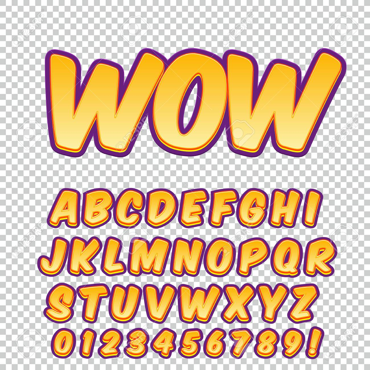 creative high detail comic font alphabet in the style of comics pop art
