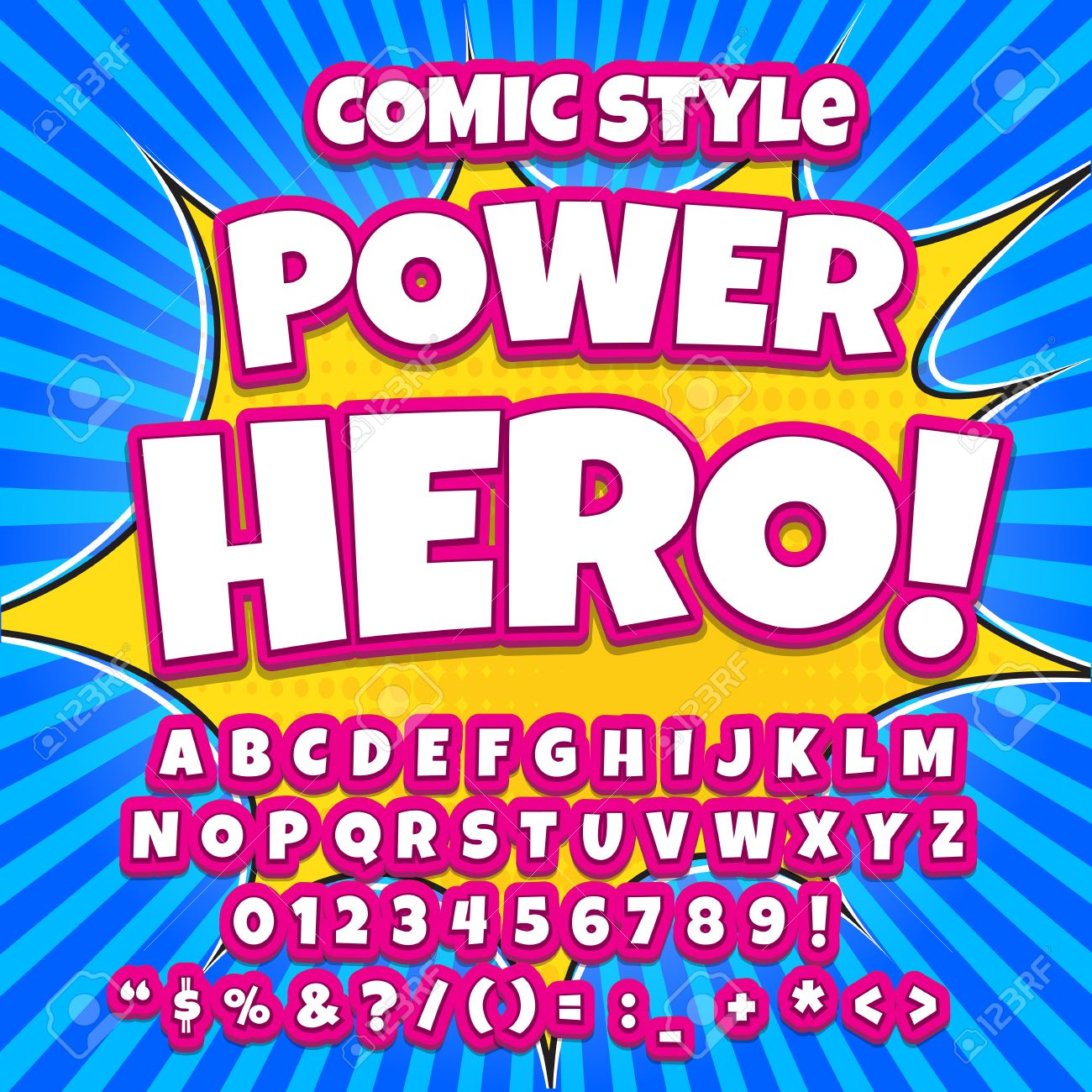 Comic Alphabet Set. Pink Color Version. Letters, Numbers And ...