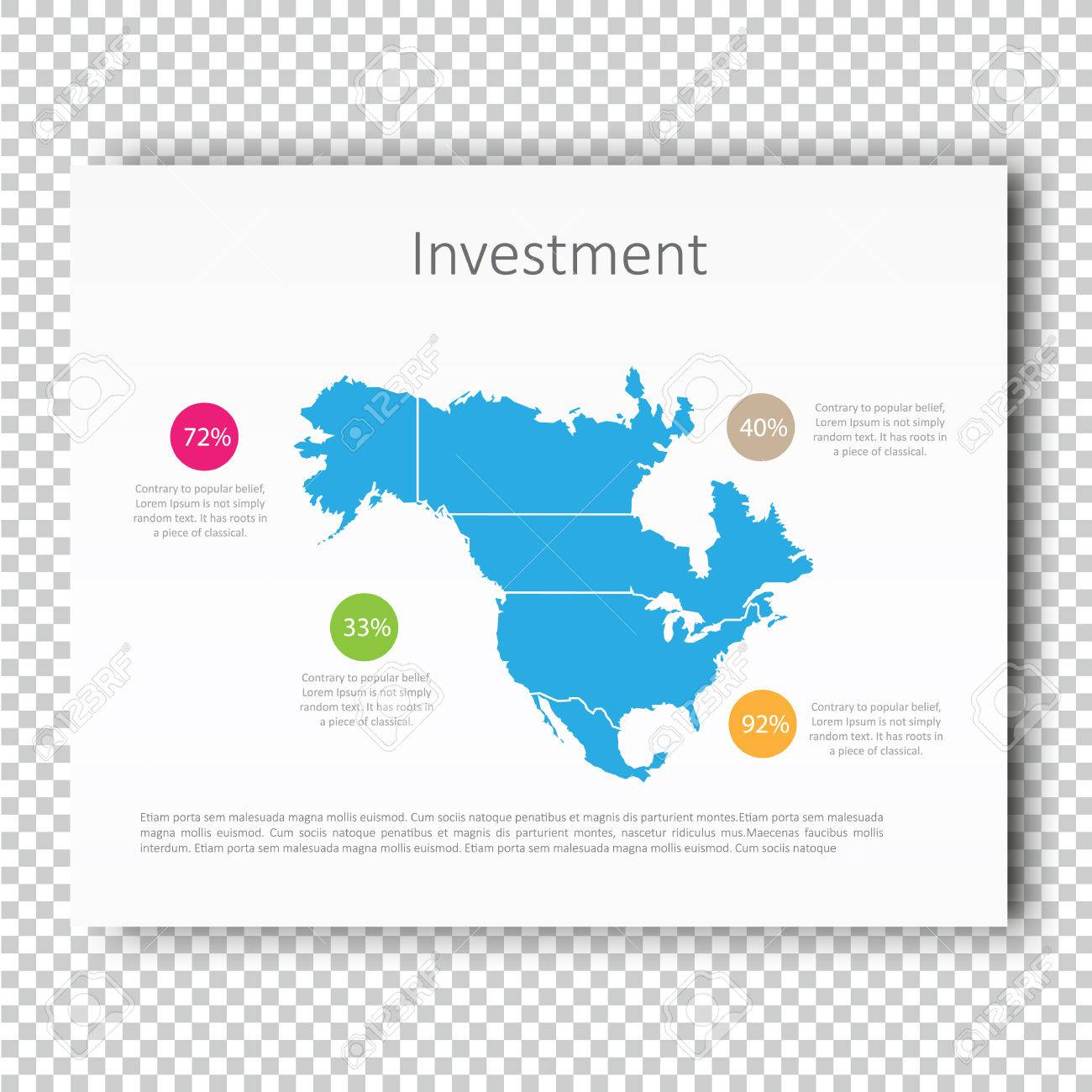 infographic investment north america map presentation template business layout design modern style vector