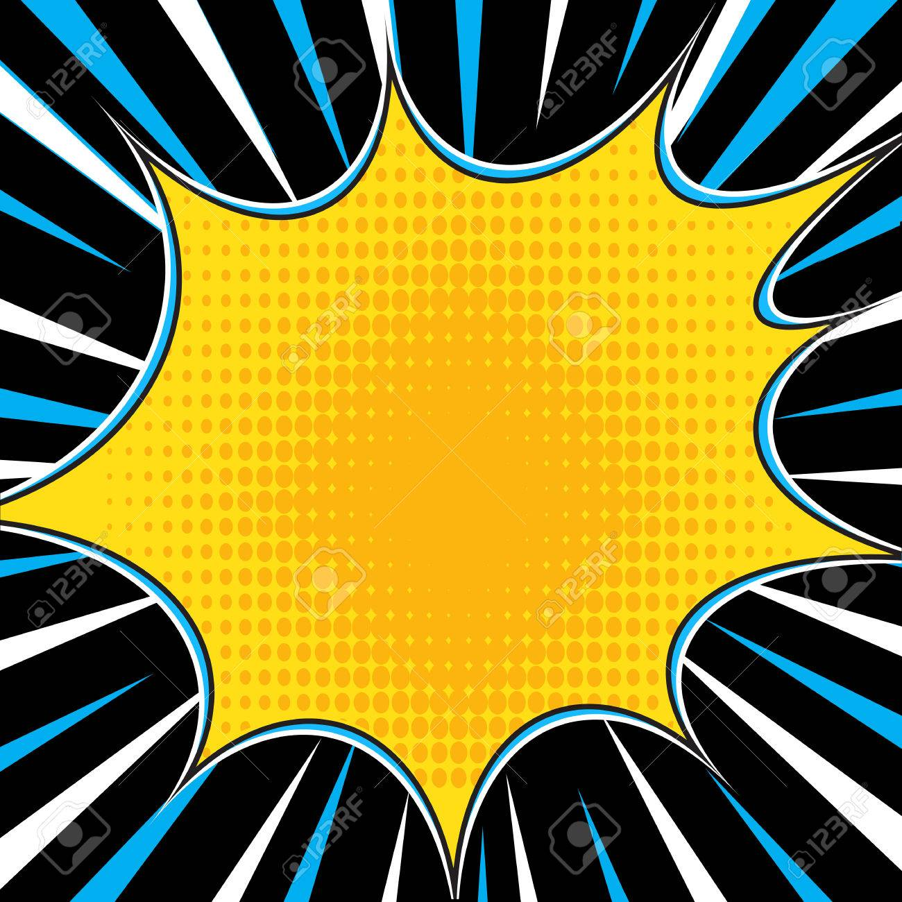 Comic Book Explosion Superhero Pop Art Style Radial Lines Background ...
