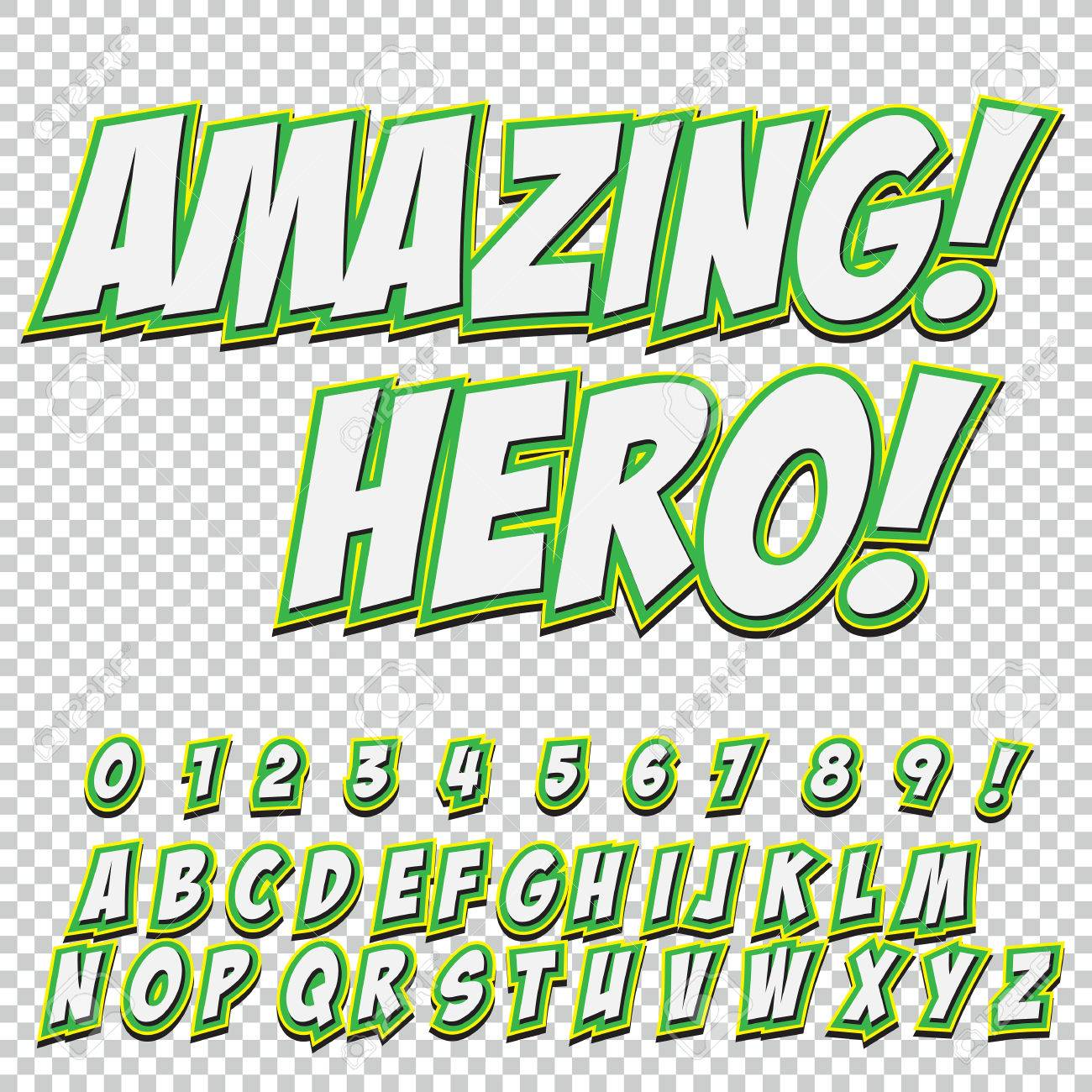 creative high detail comic font alphabet of comics pop art letters and figures