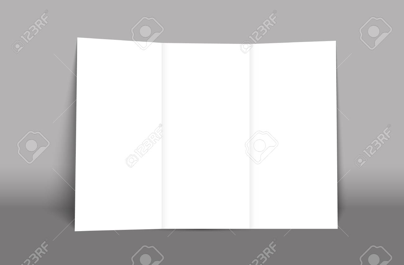 Blank Tri Fold Brochure Mockup Cover Template Isolated Royalty