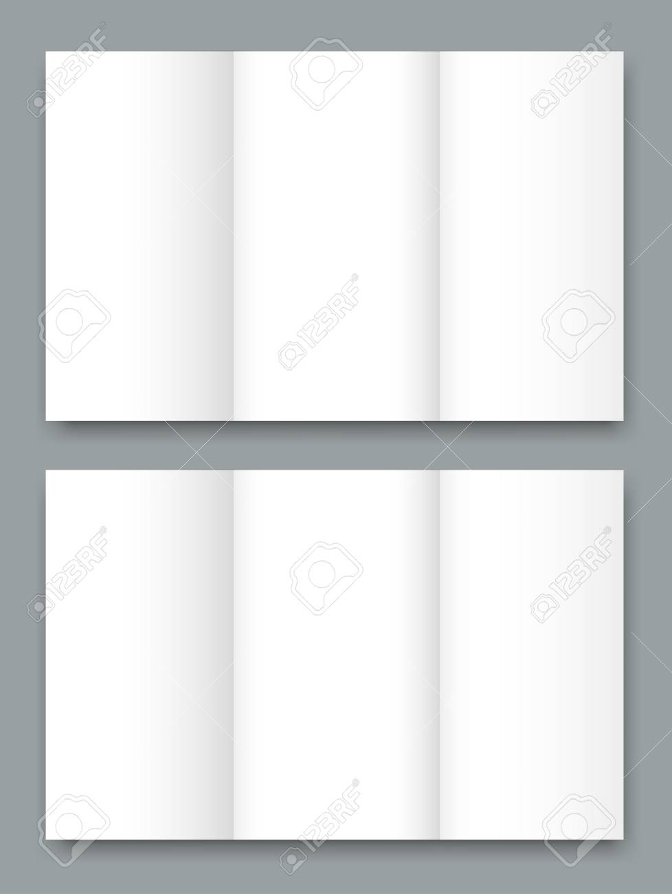 blank tri fold brochure mock up portrait cover isolated royalty
