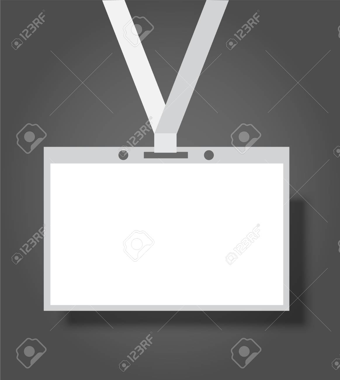 Blank realistic Identity Card Badge with ribbon mock-up cover