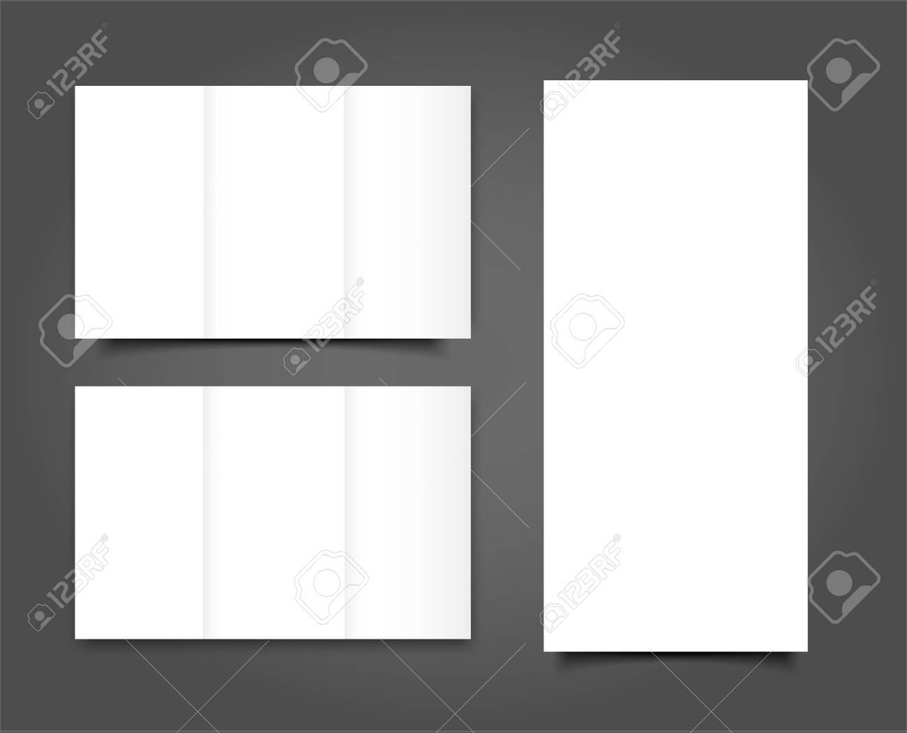 set of blank tri fold brochure mock up portrait cover royalty free
