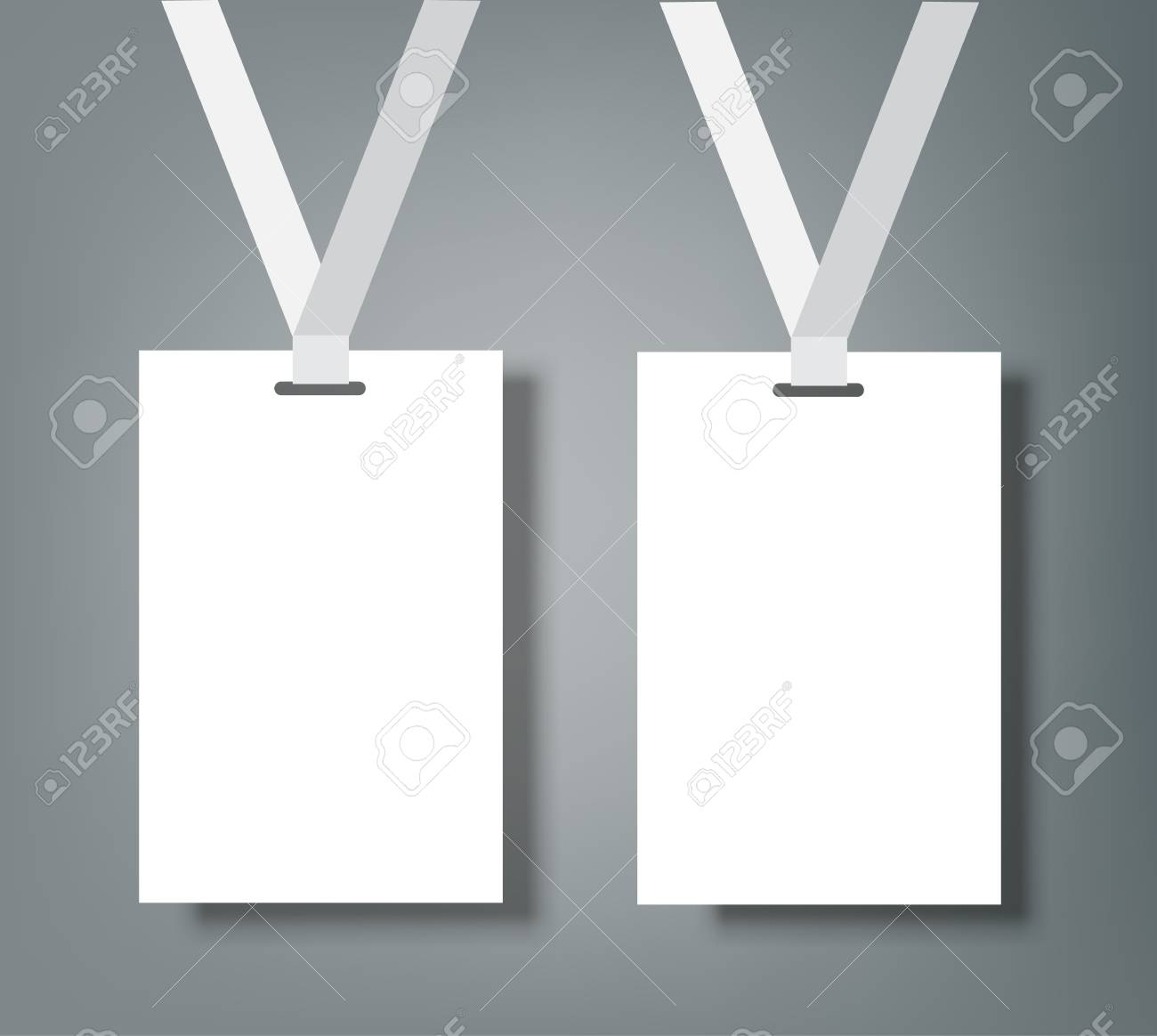 Two Blank Name Tags Mockup. Vector Illustration Of Identity Card ...