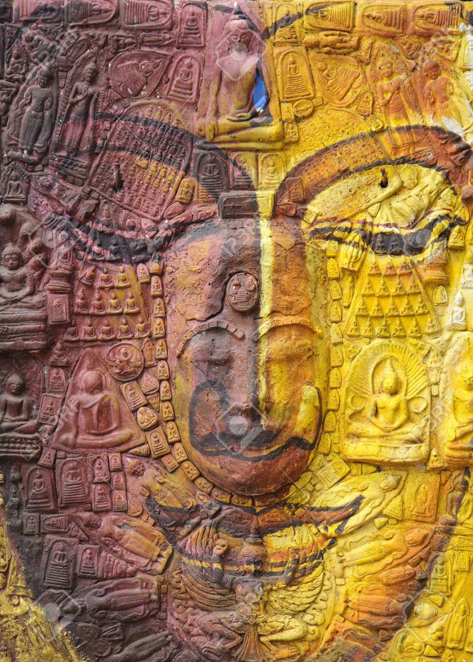 Colorful Buddha face in Thailand Stock Photo - 10799019