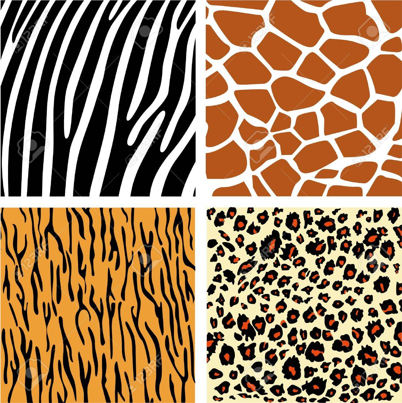 a collection of four different animal print backgrounds stock vector 20366580 - Animal Pictures To Print Free