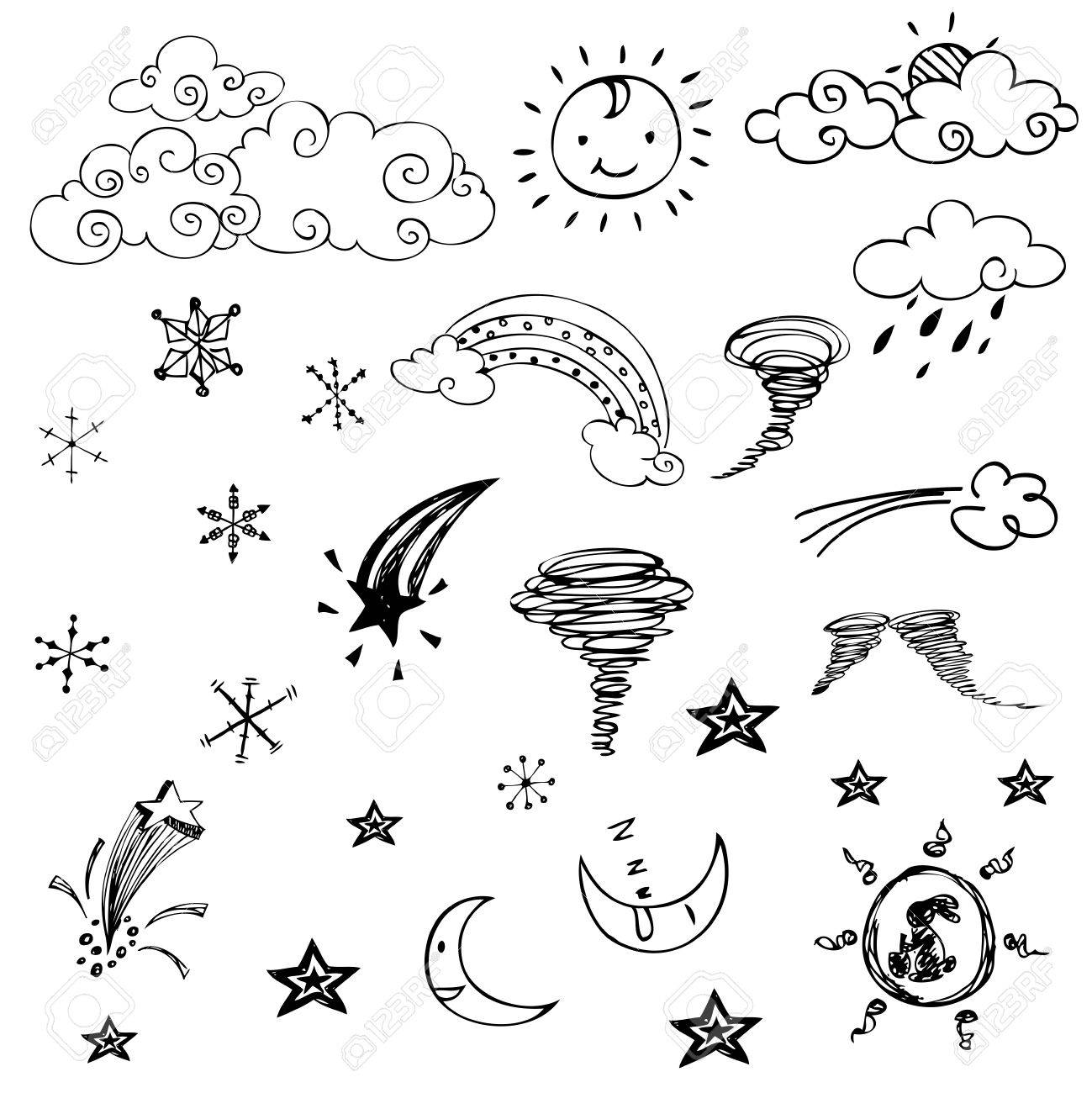 Free Drawing Of Weather Symbols On White Background Royalty Free ...