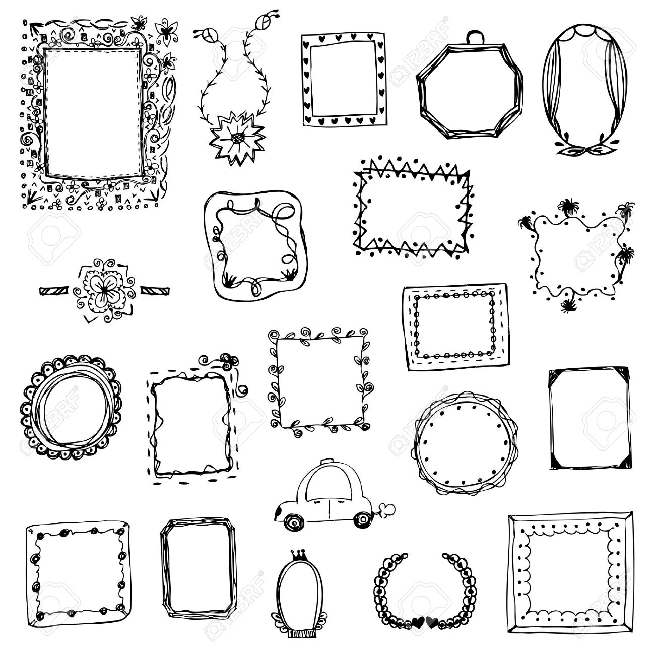 Free Hand Drawing Of Picture Frame Vector Illustration On White ...