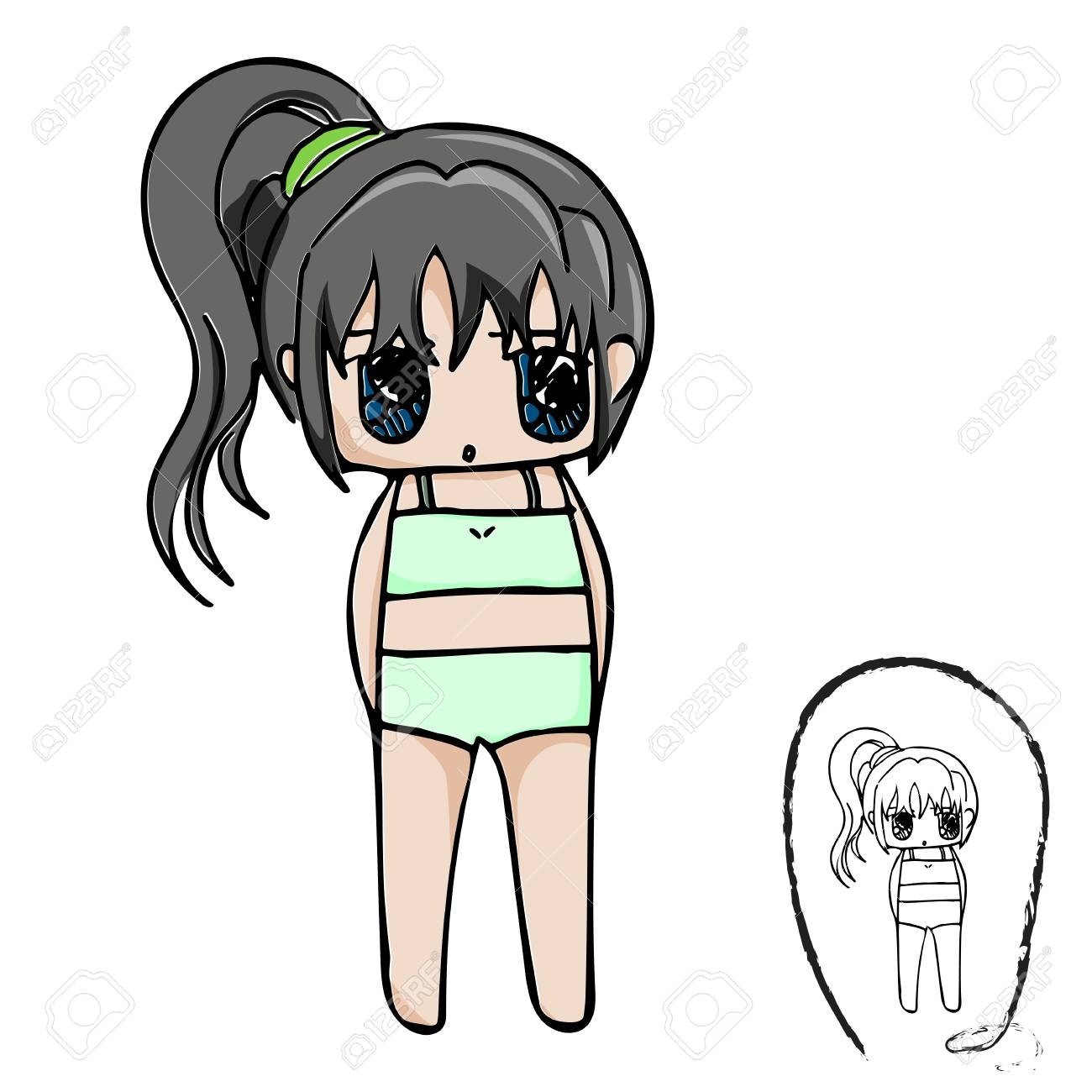 Personnage De Dessin Anime De Fille Mignonne Avec Dessin Au Trait