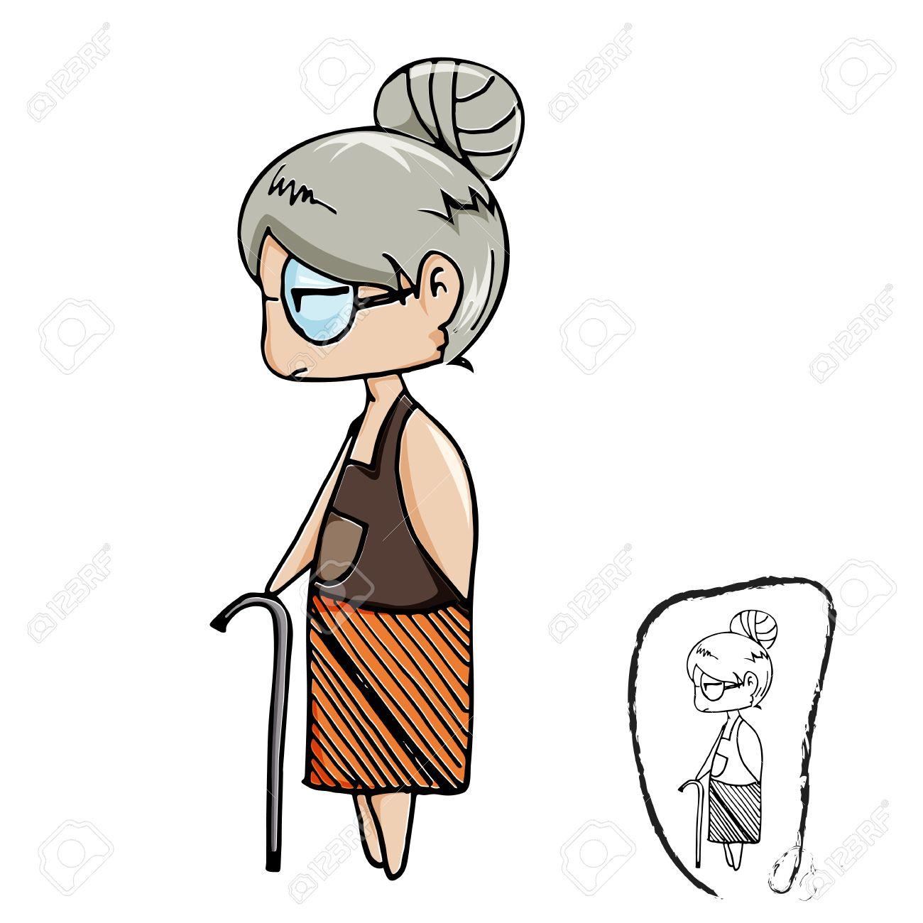Mignon Vieux Dessin Anime Vecteur Dame Avec Dessin Au Trait Noir