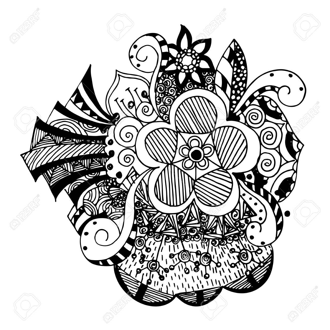 Flores Zentangle Disenos Del Doodle Ilustraciones Vectoriales Clip