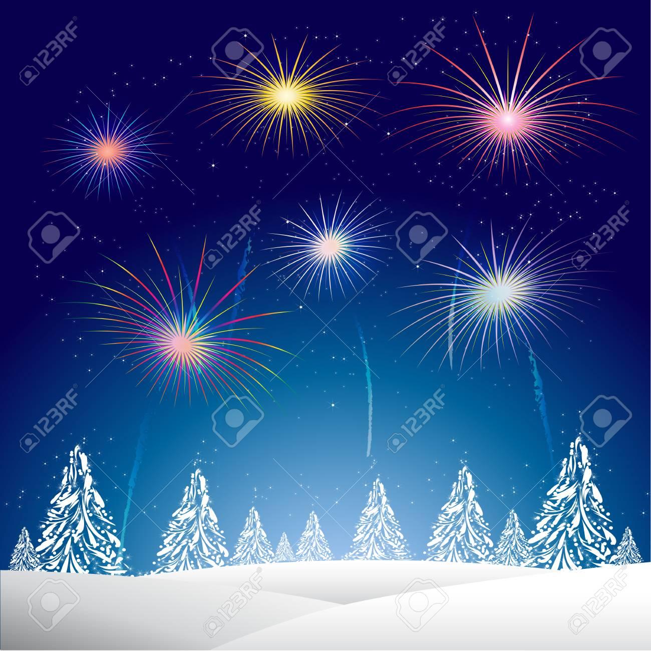 La Noche De Navidad Con Un Fondo Del Arbol De Navidad Y Fuegos