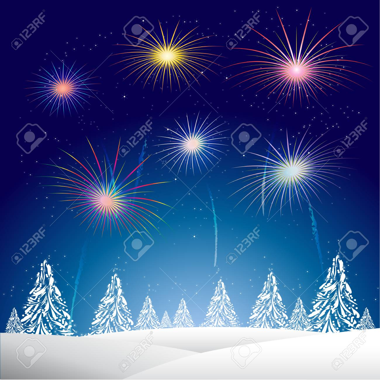 vector xmas night with a christmas tree and fireworks vector backgroundhappy new year background