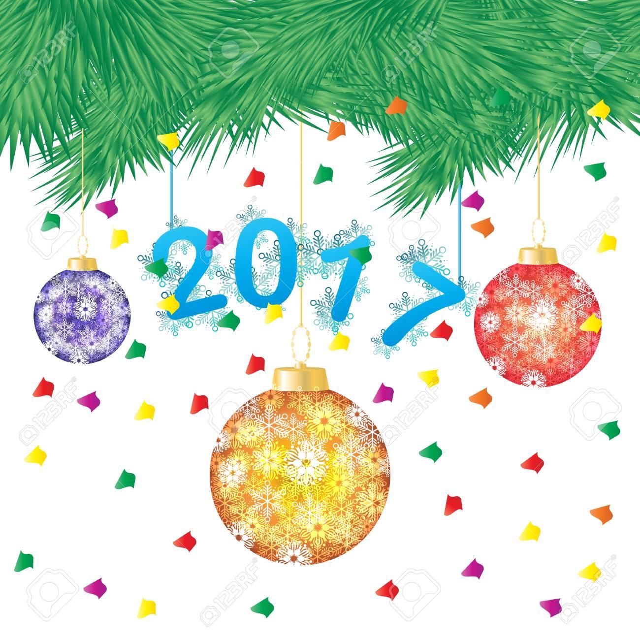 8397bea3d30 Ilustración Vectorial De Un árbol De Pino Verde O árbol De Navidad Con Colgar  Bolas De Navidad Sobre Fondo Blanco