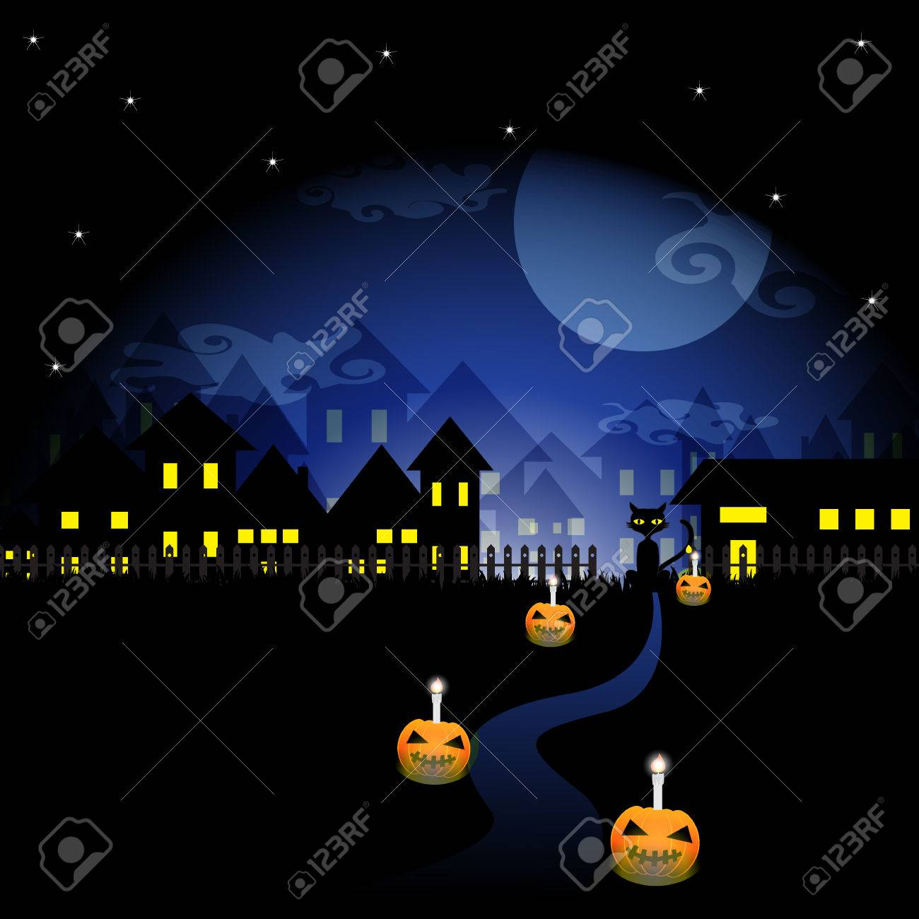 Zucca Halloween Gatto.L Oscurita Della Notte Di Halloween Sfondo Con Un Gatto Nero E Vettoriale Zucca