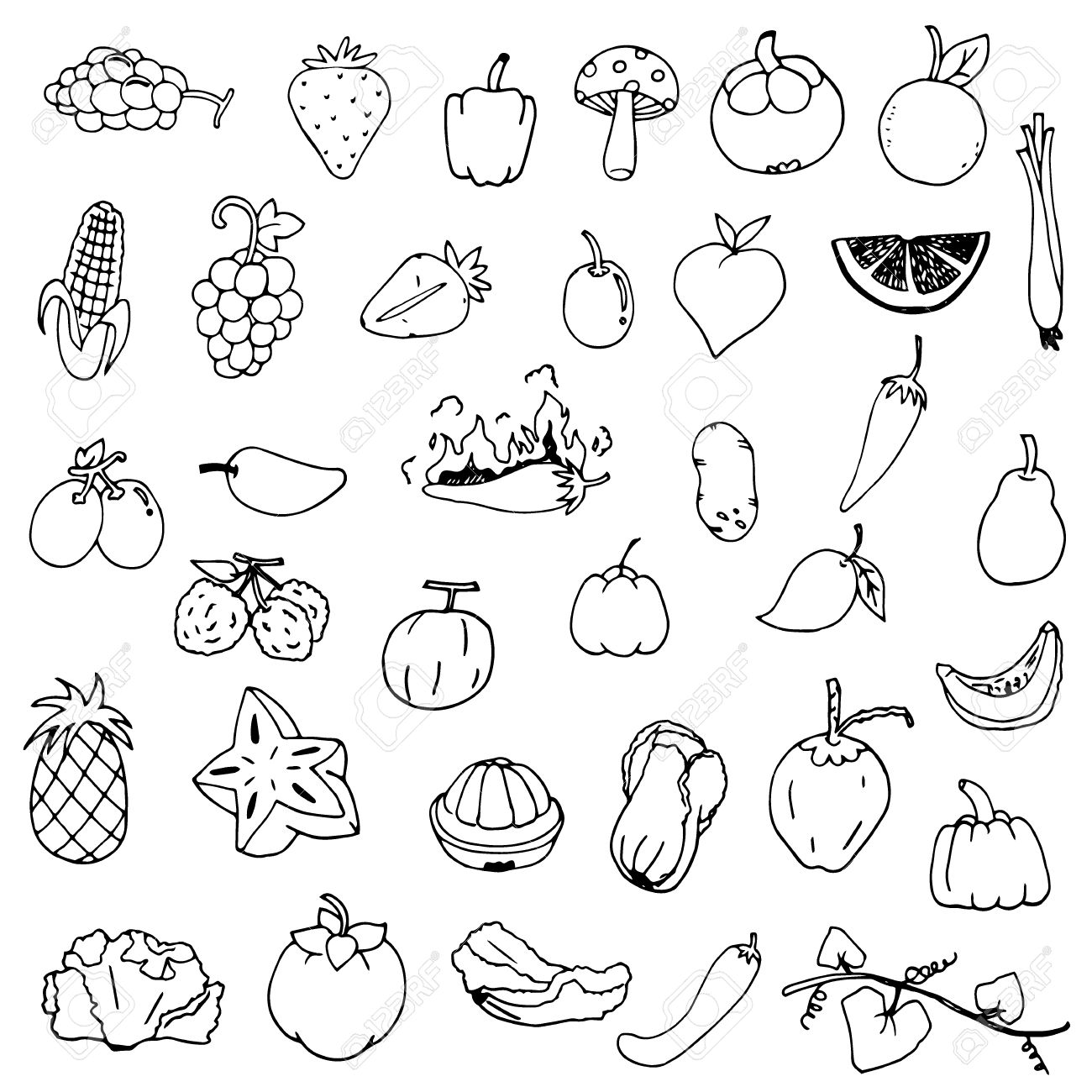 fruits and vegetables sketch vector in black doodle on white
