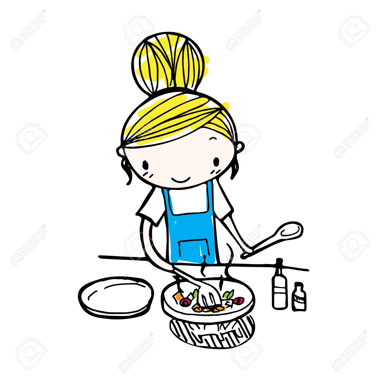 Doodle Line Vector Of Cute Cartoon Girl Cooking In Kitchen Royalty Free Cliparts Vectors And Stock Illustration Image 69099927