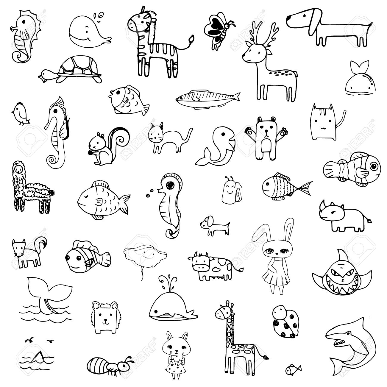 Set of drawing doodle of cute animal in black line on a white background stock vector