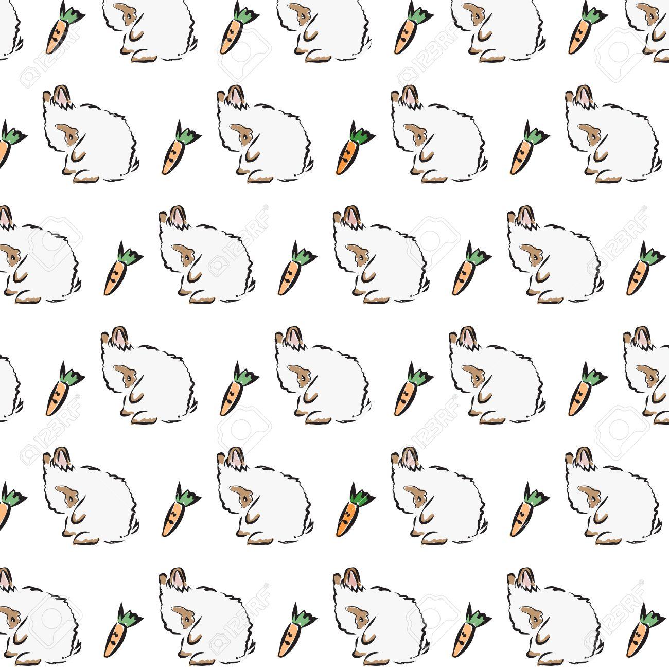 vector illustration of outline lovely bunny pattern on a white