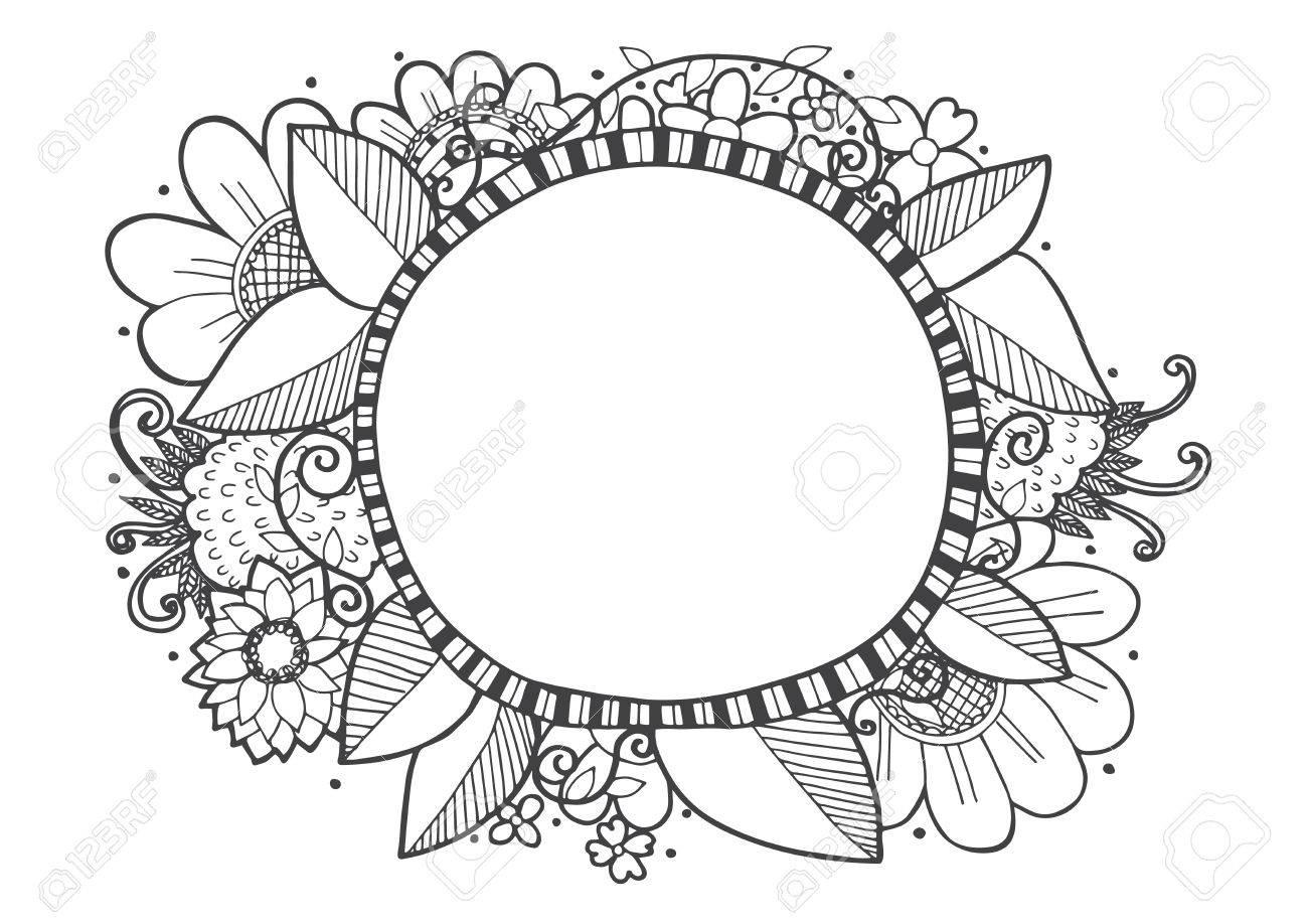 Doodle Lines Hand Drawing Frame Designs Vector Illustration
