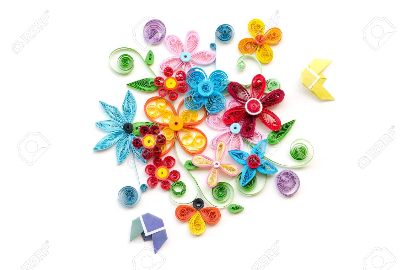 Quilling Paper Flower Designs Isolated On White Stock Photo Picture