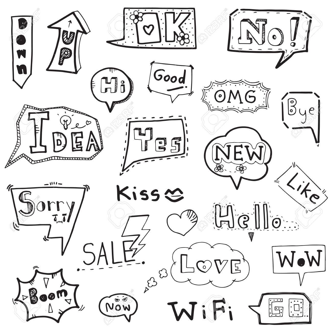 Collection Of Speech Bubble With Words Hand Drawn Doodle Vector Illustration Stock
