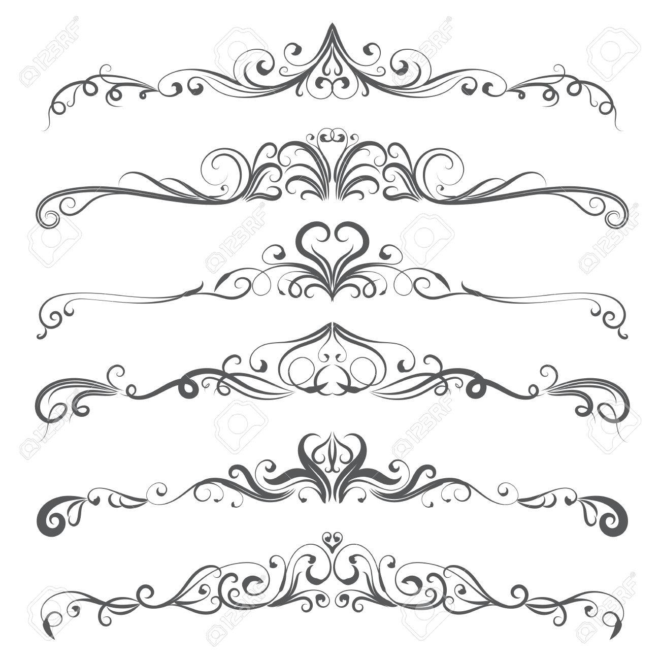 Vector Illustration Set Of Border Calligraphic Design Elements