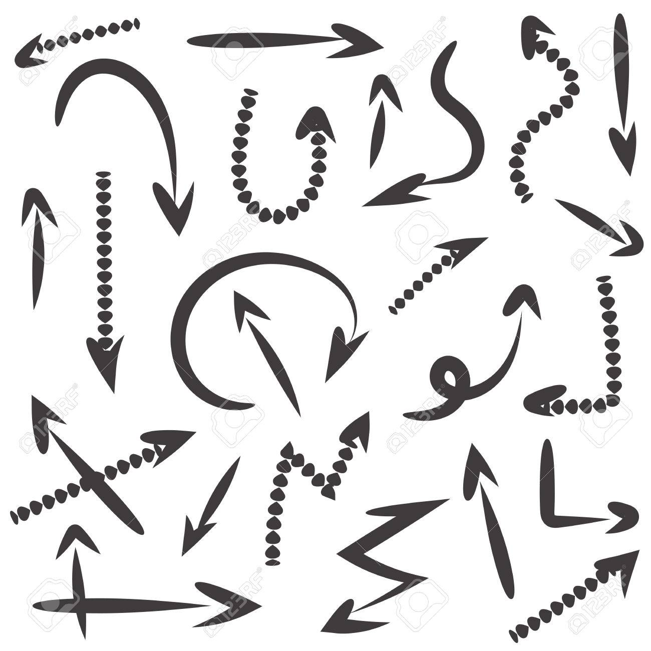 set of hand drawn arrow vector on white background royalty free