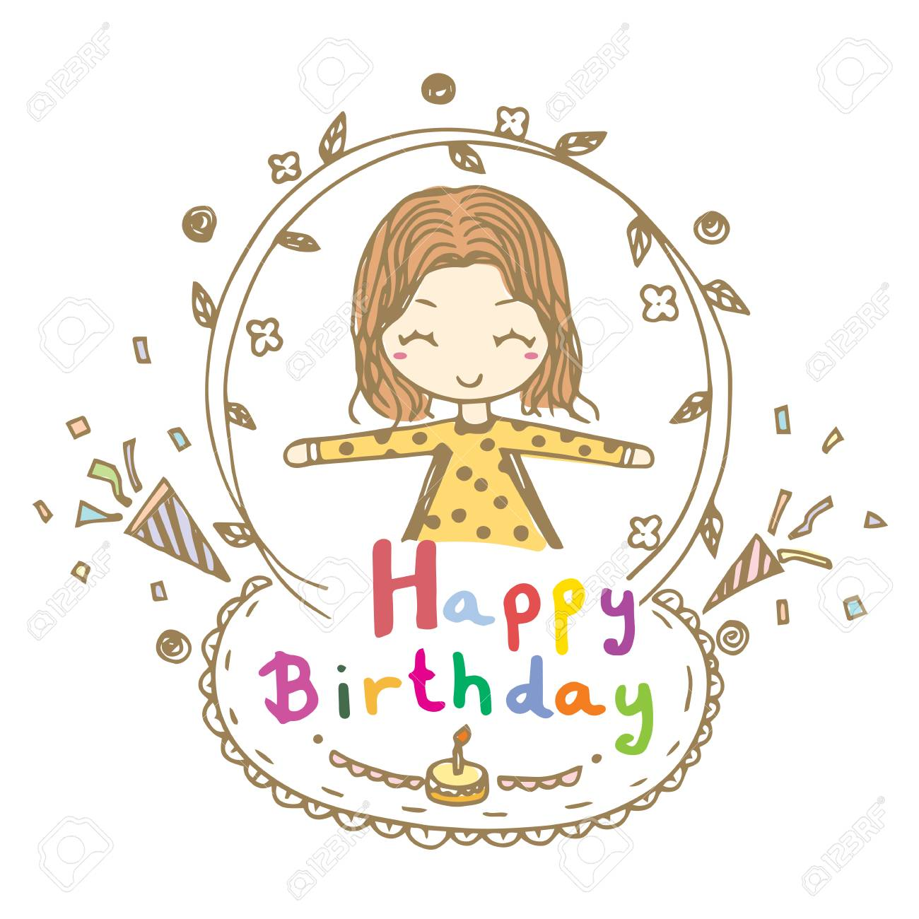 Doodle Drawing Vector Of Cute Girl Smile And Open Arms With Happy Birthday Word Stock