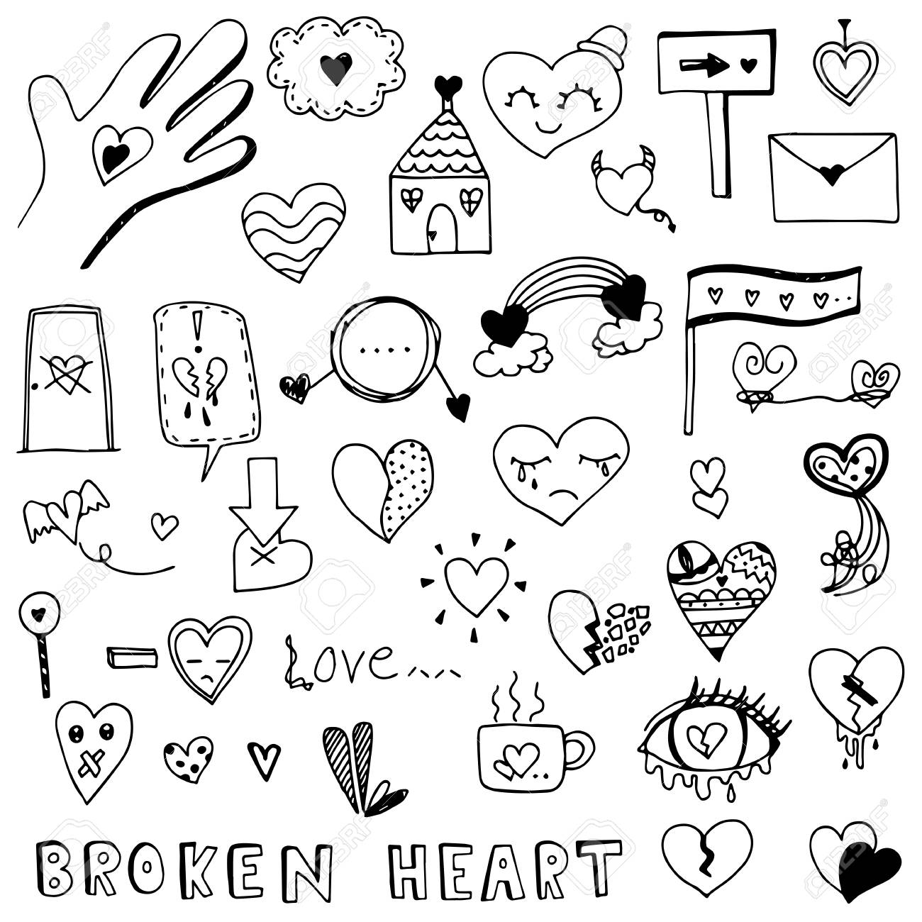 Broken Heart And Love Heart Doodle Vector Set Royalty Free Cliparts Vectors And Stock Illustration Image 89058046 Search, discover and share your favorite doodle hearts gifs. broken heart and love heart doodle vector set
