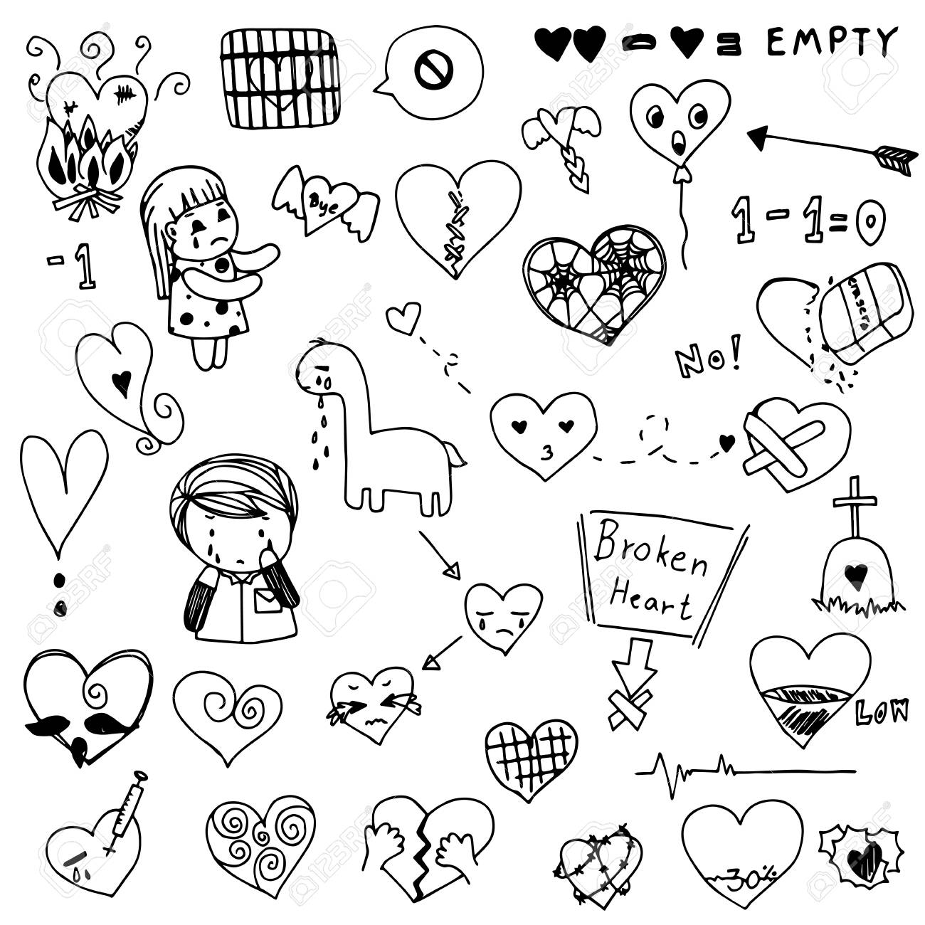 Broken Heart And Love Heart Doodle Vector Set Royalty Free Cliparts Vectors And Stock Illustration Image 89058048 Check out our heart doodle selection for the very best in unique or custom, handmade pieces from our digital shops. broken heart and love heart doodle vector set