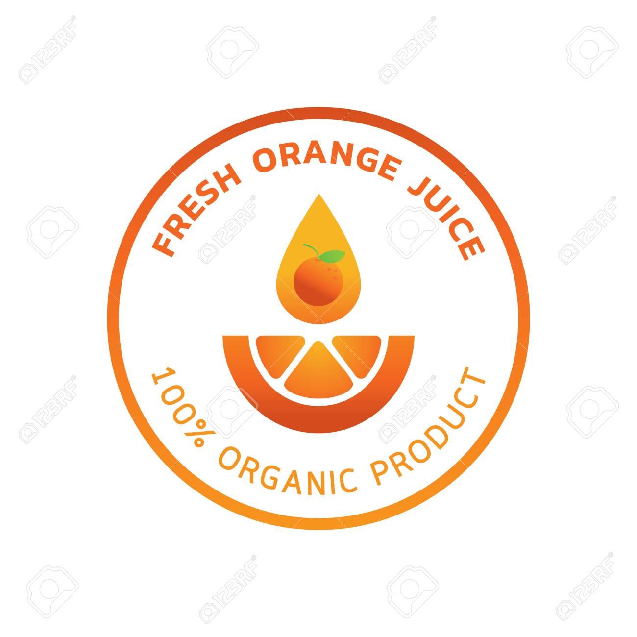 Organic orange juice guarantee logo with orange fruit illustration