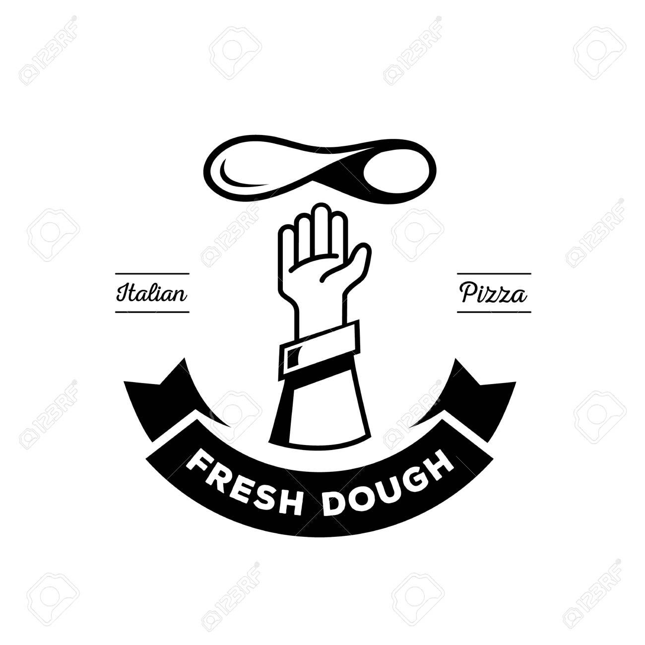 Chef De Cocina Tirar Masa De Pizza Fresca En El Diseño De Logotipo ...