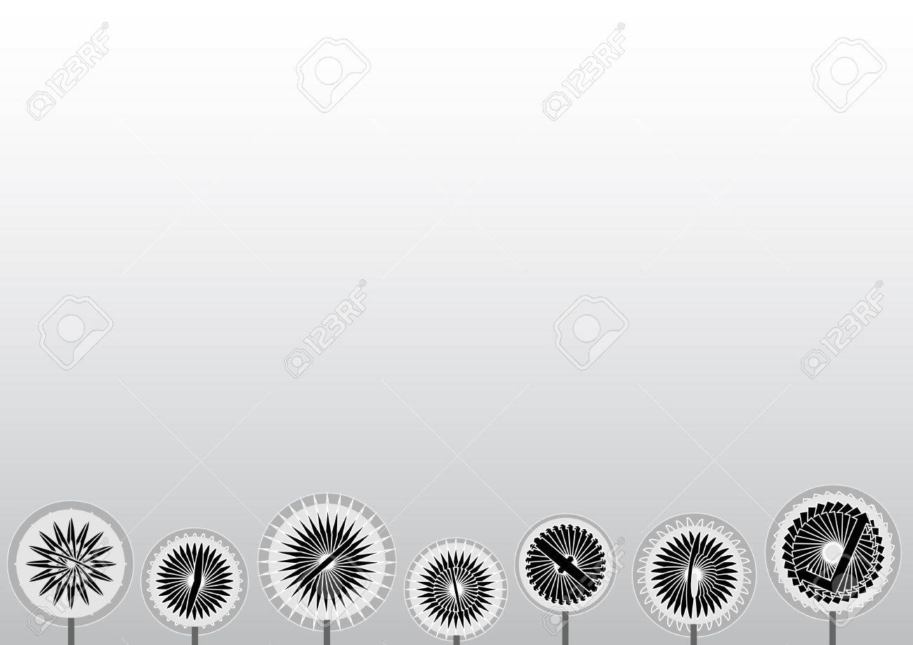 Background image bottom 0 - White To Grey Gradient Background With Abstract Black And White Flowers On The Bottom Stock Vector