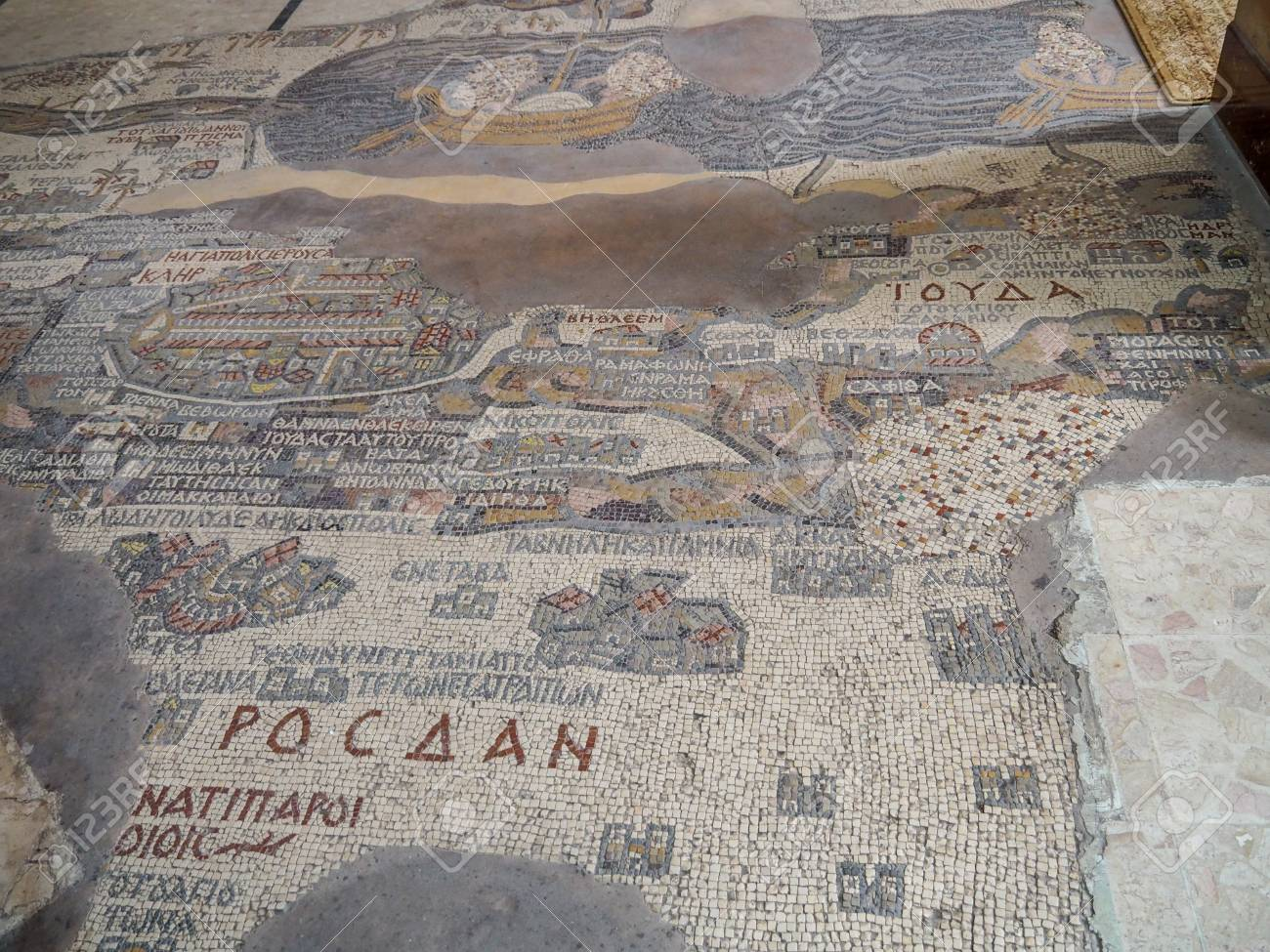 Madaba, Jordan - March 6th, 2018: Madaba Map is part of floor.. on vienna genesis, macedonian renaissance, late antique and medieval mosaics in italy, joshua roll,