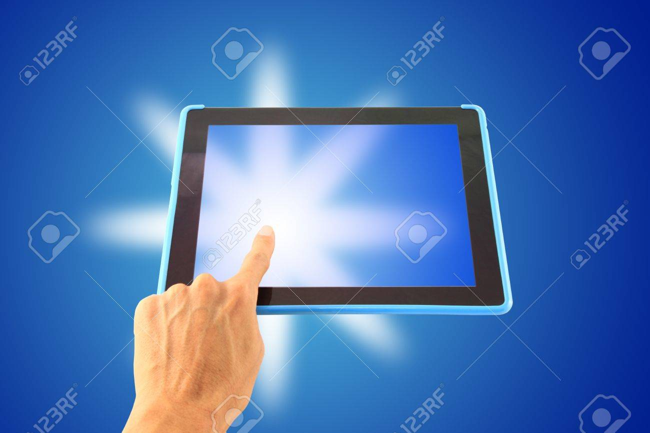 Left hand tablet touch shiny. Stock Photo - 10779320