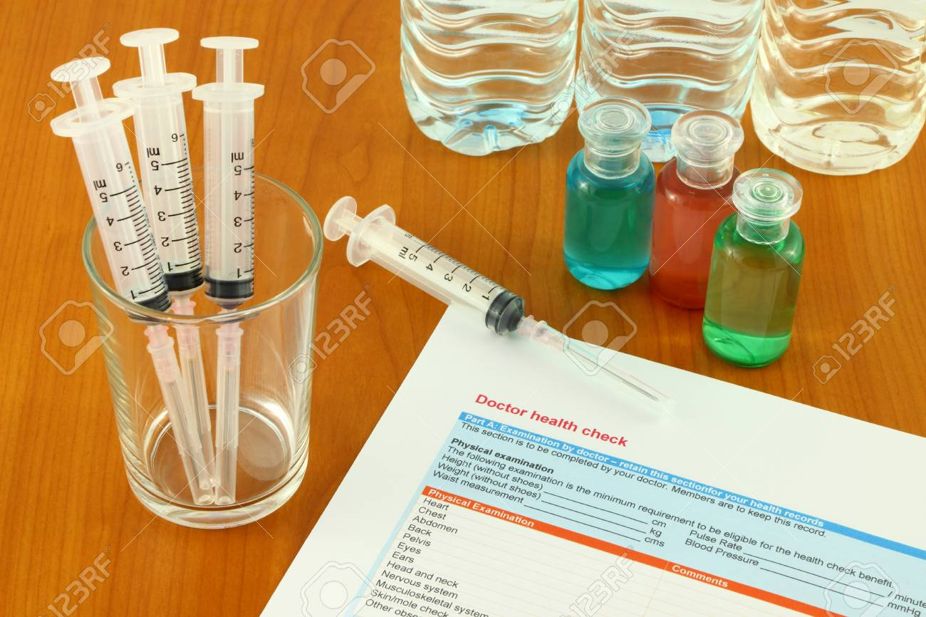 Working desktop of medical preparation on clinic table. Stock Photo - 11229159
