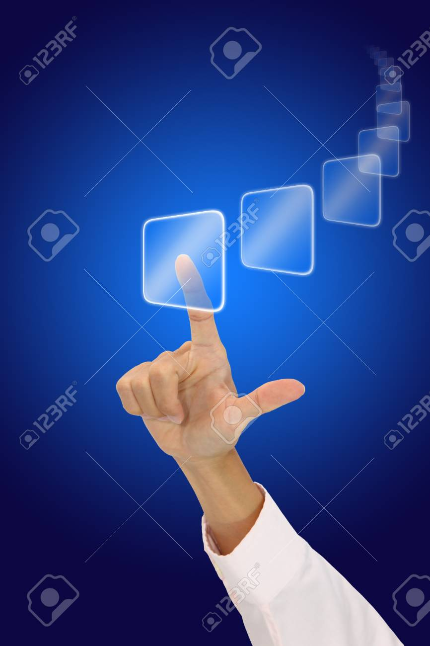 Sweep button with your hand. Stock Photo - 11595003