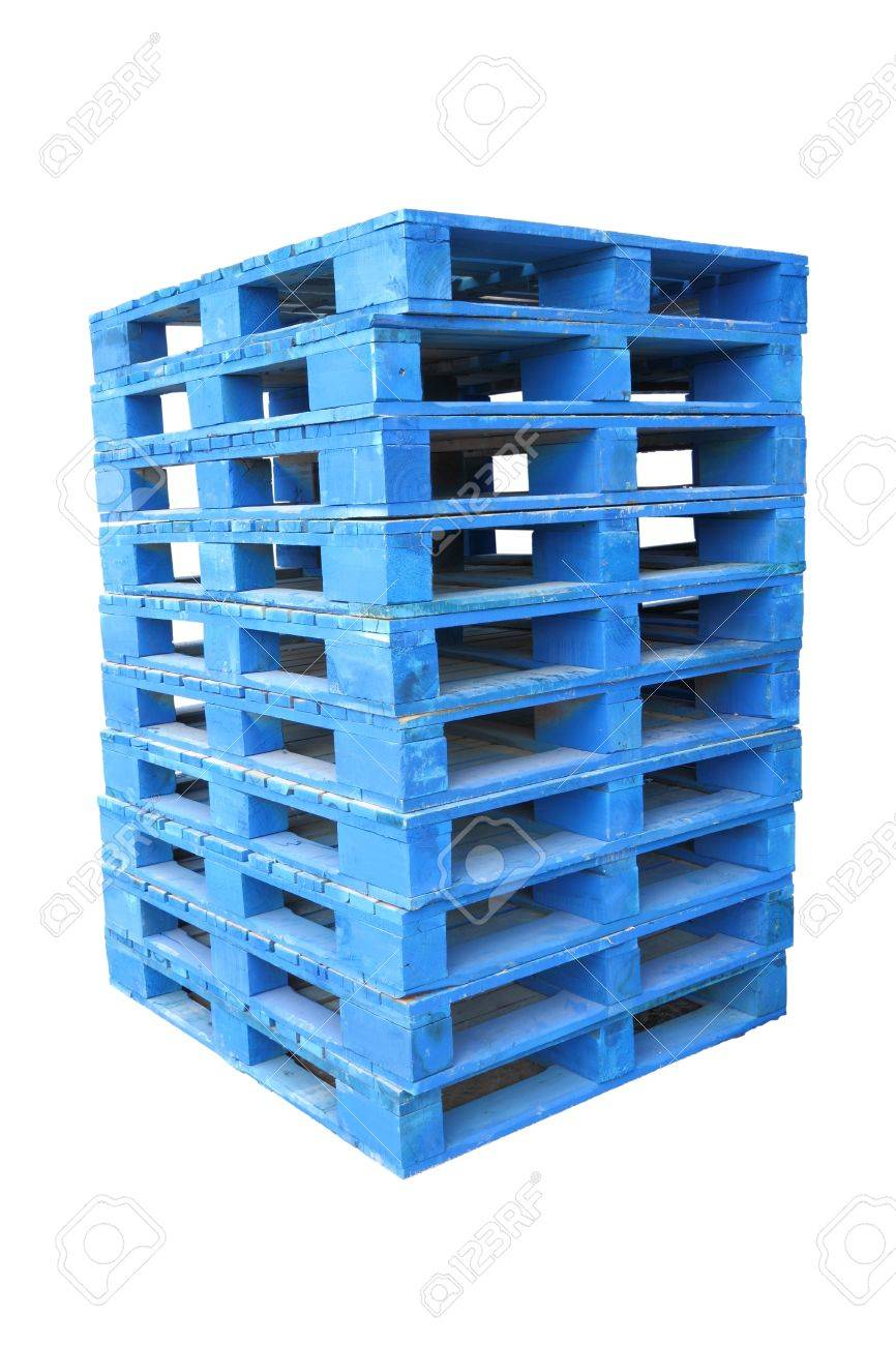 Pile of wooden blue palette on white background. Stock Photo - 12050040