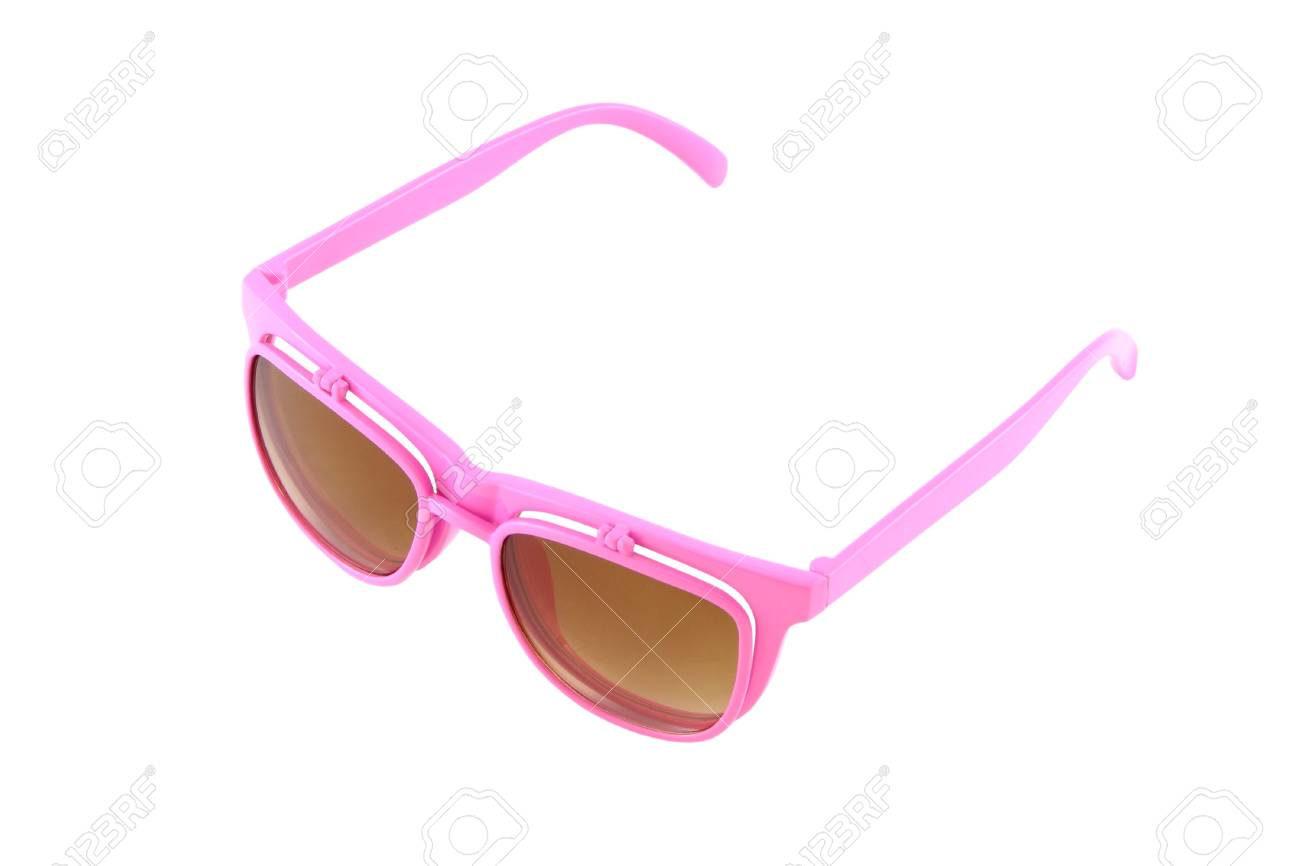 Pink eye glasses with sun shield on white background. Stock Photo - 13164903