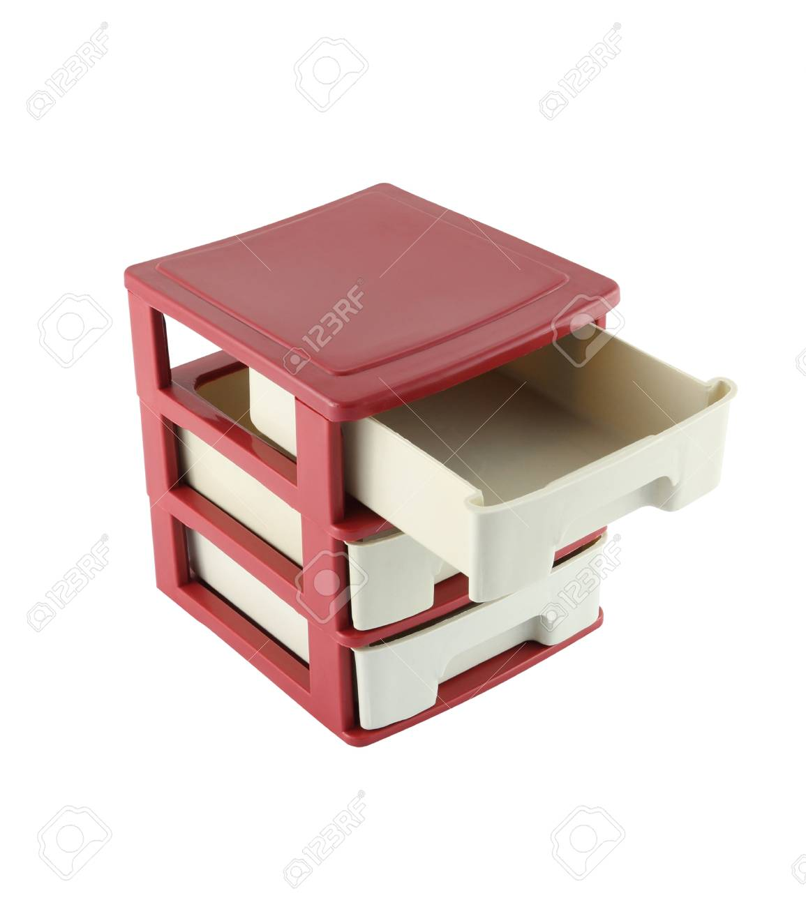 Top drawers cabinet opened on white background. Stock Photo - 15624085